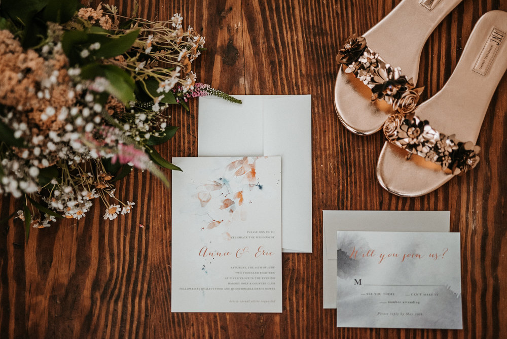 Bouquet, invitations and shoes