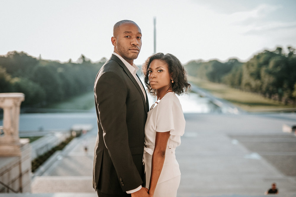 Couple posing on national mall