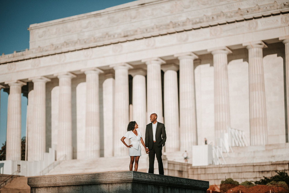 Couple in front of Lincoln Memorial