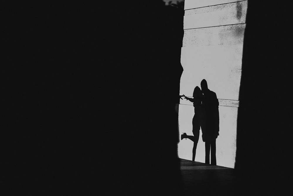 Engagement photo of couple's shadows