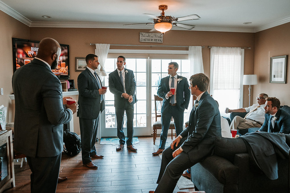 Groom and Groomsmen at Crystal Point Yacht Club