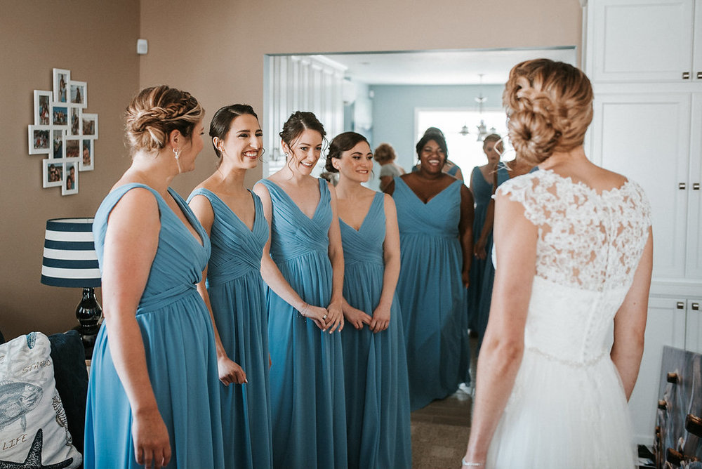 Bride and Bridesmaids at Crystal Point Yacht Club