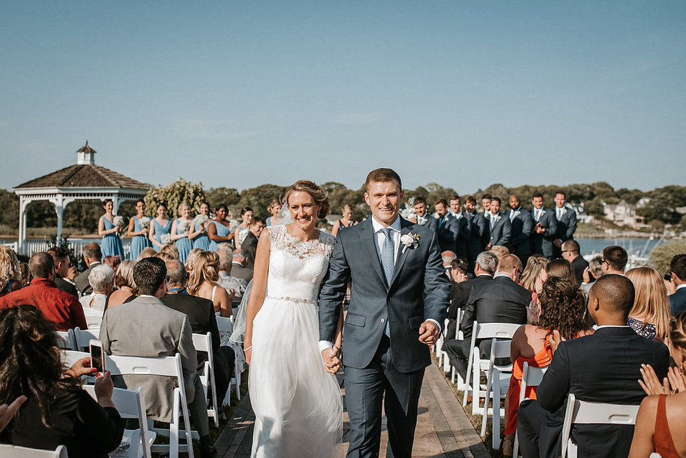 bride and groom married at crystal point yacht club