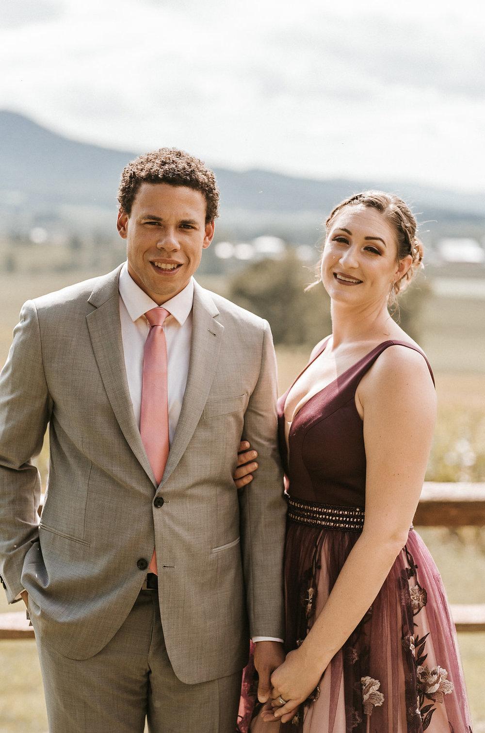 Bride and Groom Smiling at The Pavilion Shenandoah Woods