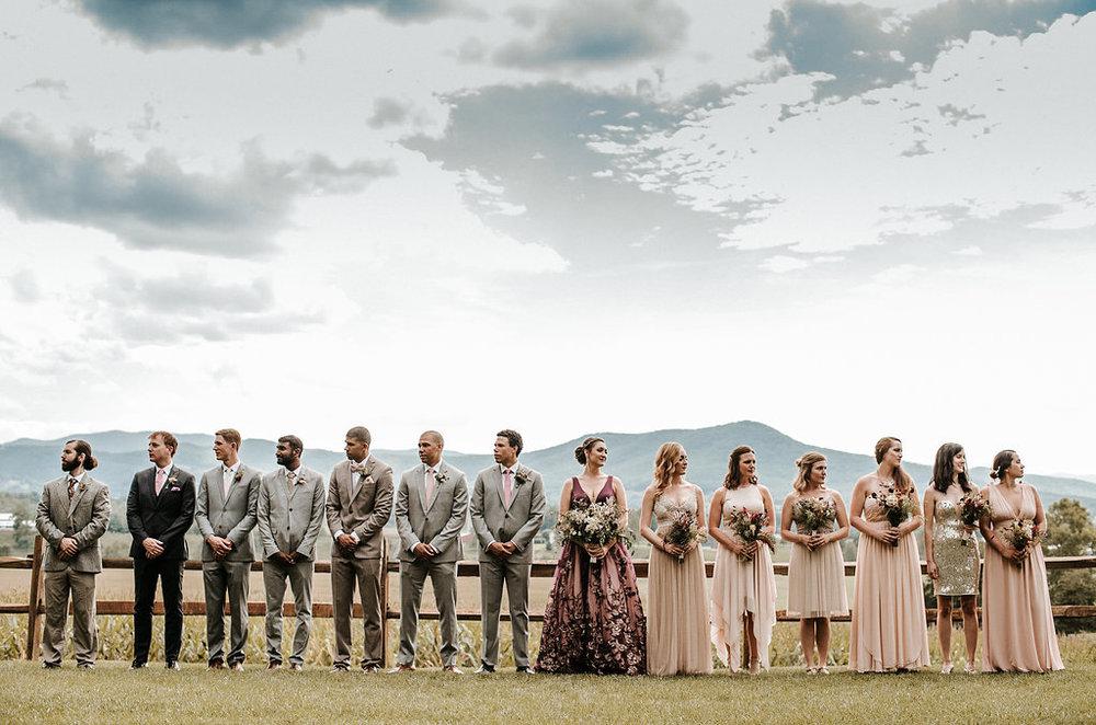 Wedding Party Posing at The Pavilion Shenandoah Woods