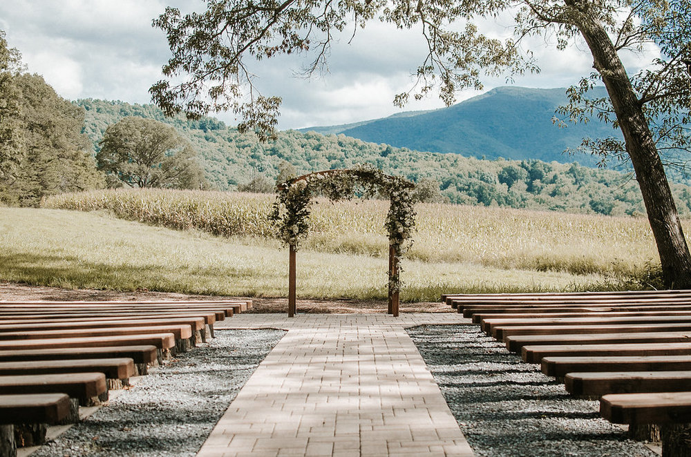 Ceremony Arch and Benches at The Pavilion Shenandoah Woods