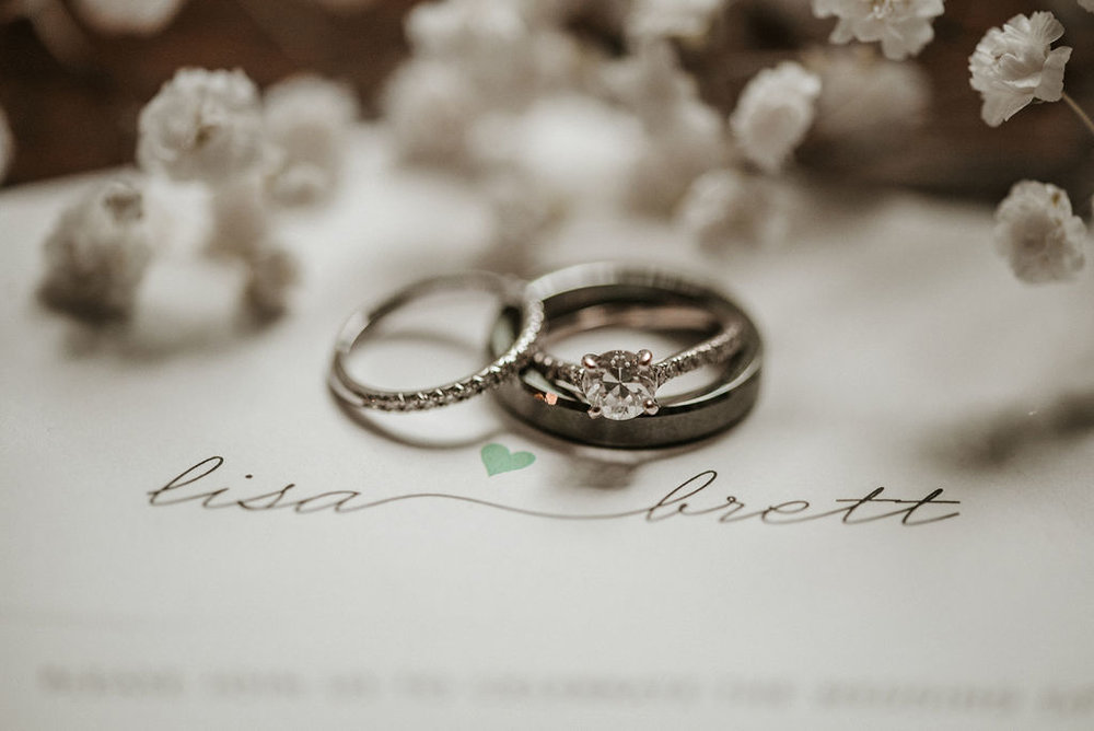 Wedding Detail Shot of Wedding and Engagement Rings at The Woodlands at Algonkian