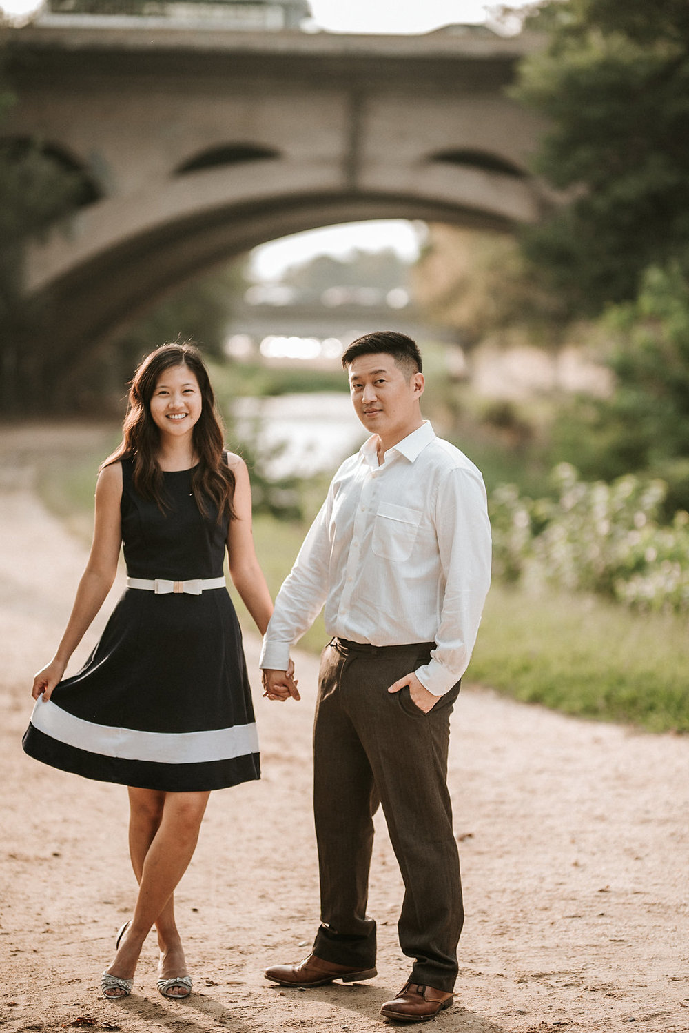 couple posing during engagement session in Georgetown