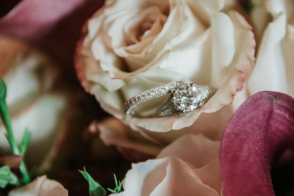 Detail Shot of Wedding Rings at Inn at the Old Silk Mill