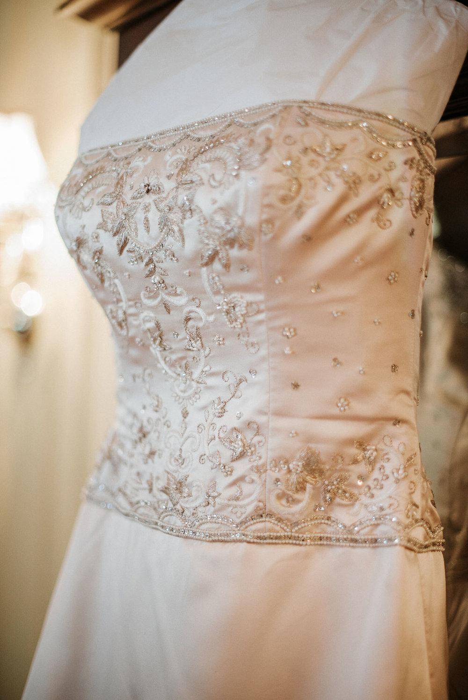 Wedding Dress Detail Shot at Inn at the Old Silk Mill