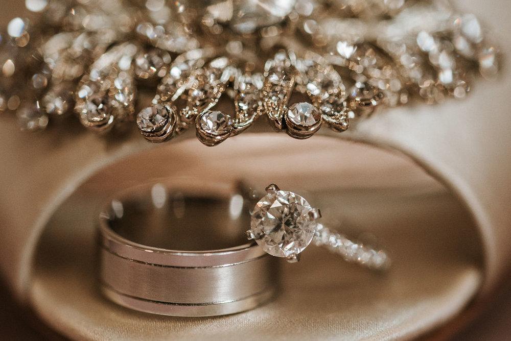 wedding rings and shoe detail shot at Linganore Winecellars