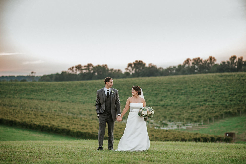 bride and groom holding hands in front of vineyard at Linganore Winecellars