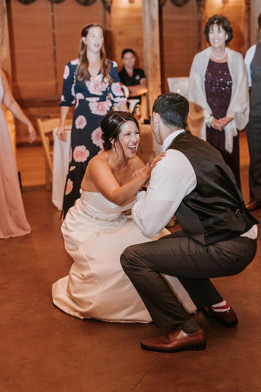 bride and groom dancing at reception at Linganore Winecellars
