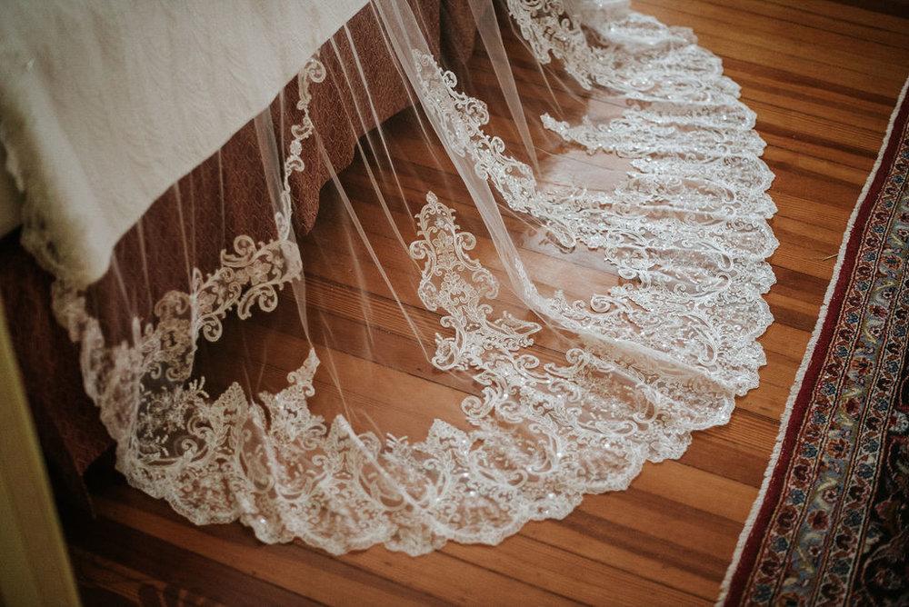 Veil Detail Shot at Historic Rosemont Manor
