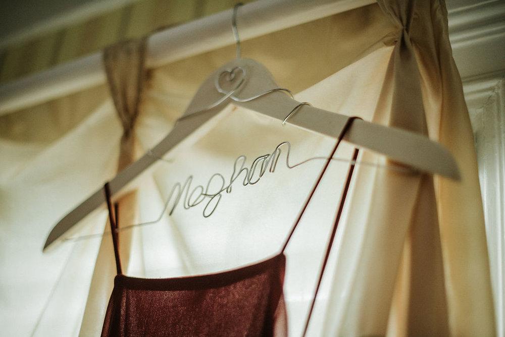 Detail Shot of Bridesmaids hanger at Historic Rosemont Manor
