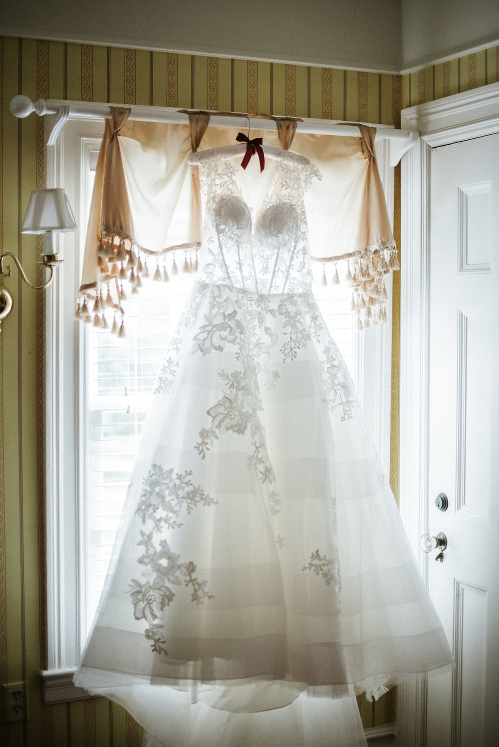 Detail Shot of Bride's wedding dress at Historic Rosemont Manor