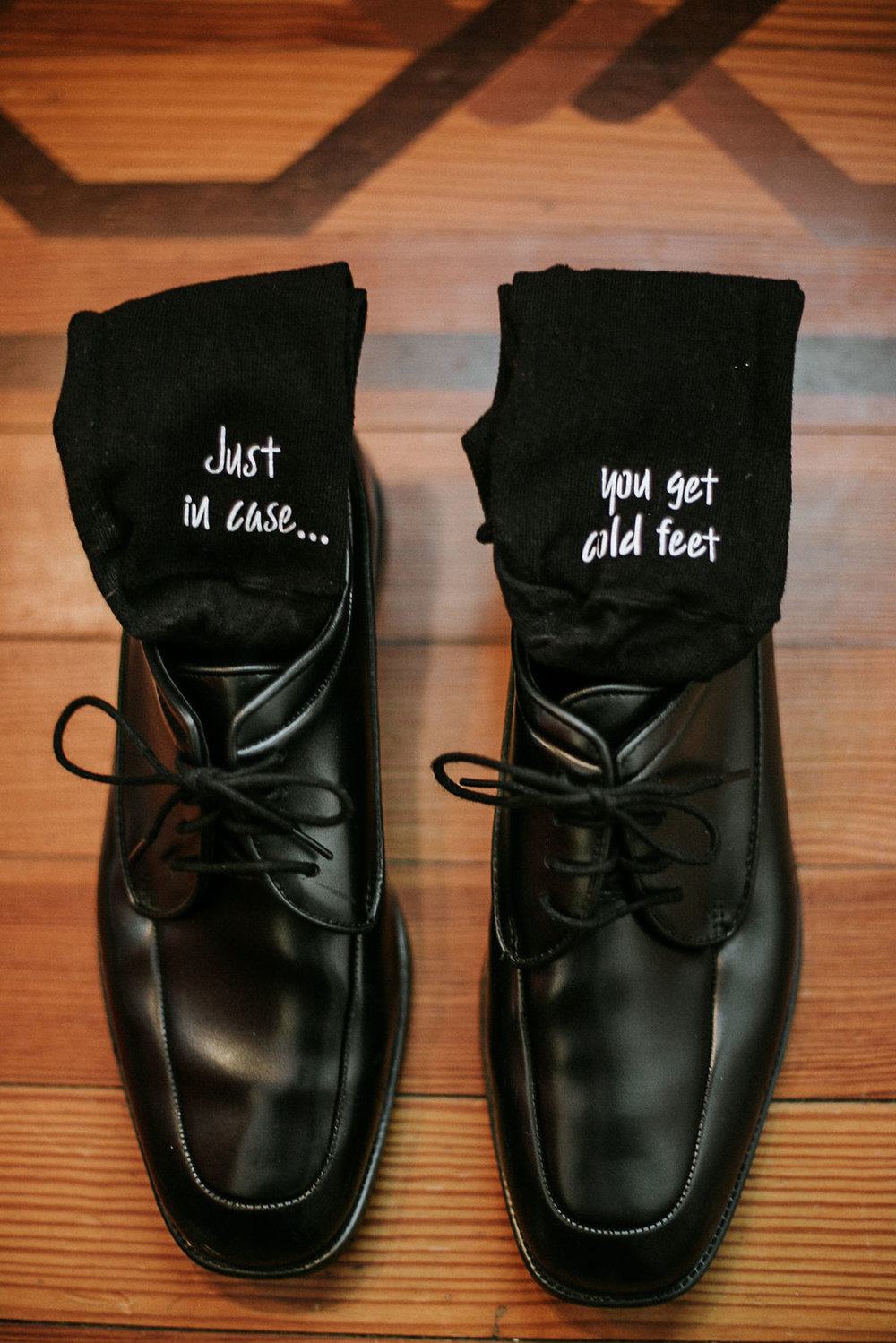 Detail Shot of Groom's shoes and socks at Historic Rosemont Manor