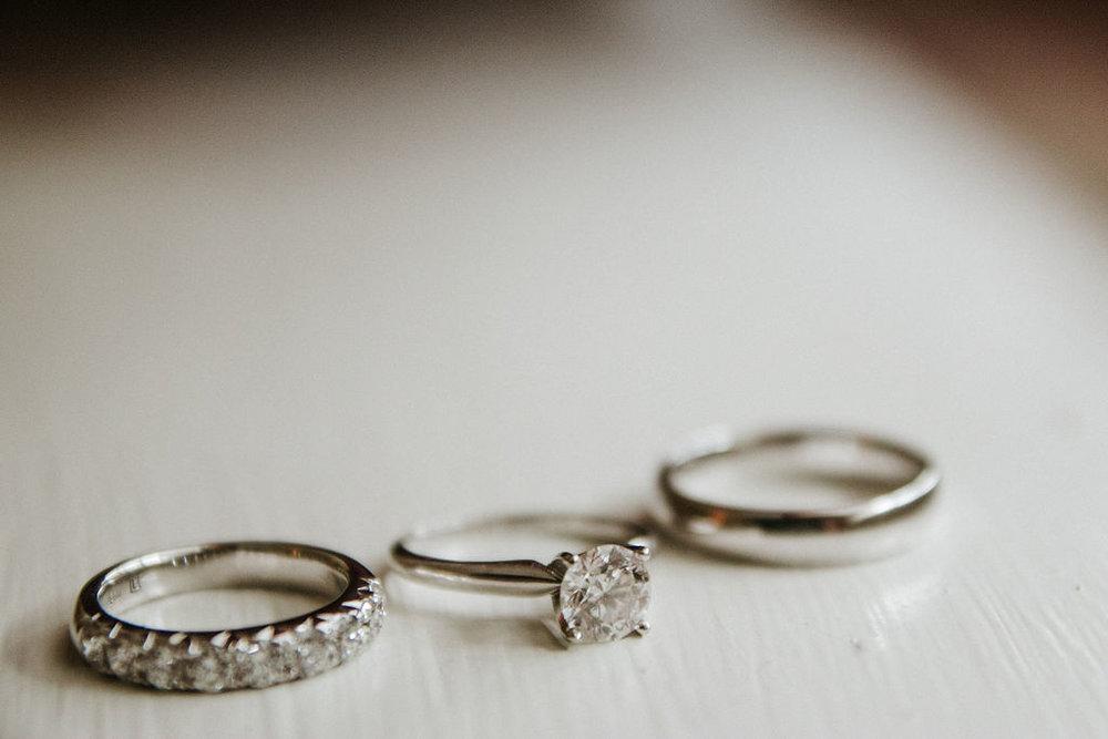 Detail Shot of wedding rings at Historic Rosemont Manor
