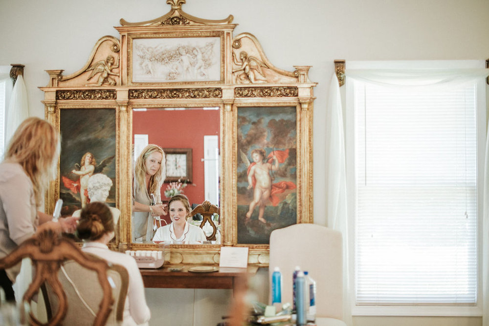 Bride getting ready at Historic Rosemont Manor