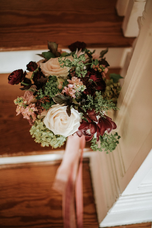 Detail Shot of Bride's Bouquet at Historic Rosemont Manor