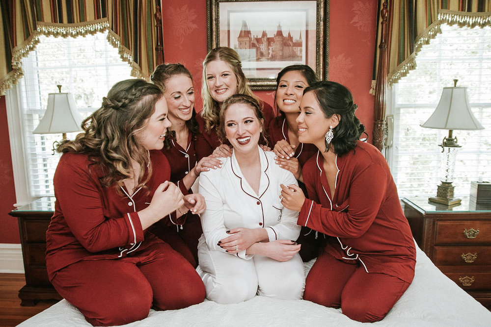 Bride and Bridesmaids getting ready and posing at Historic Rosemont Manor