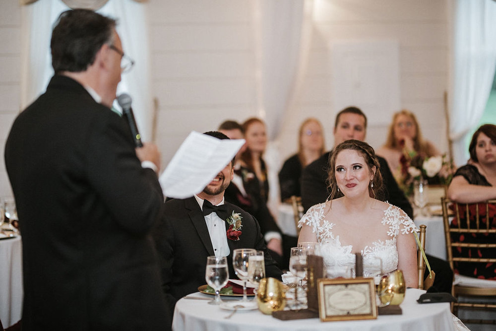 father of the bride making a speech at Historic Rosemont Manor
