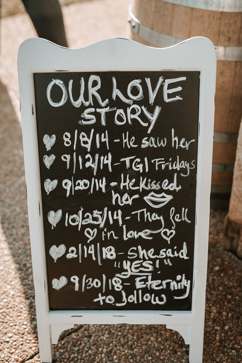 Bride and Groom Timeline Sign at Blue Valley Vineyard