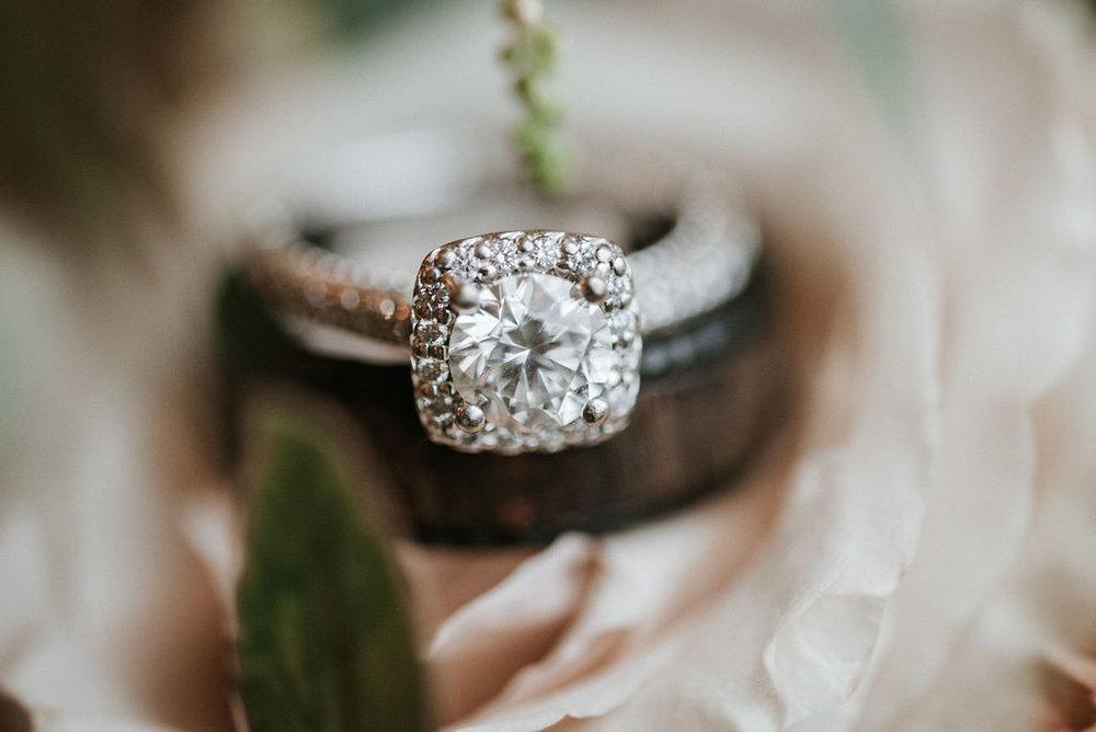 Detail Shot of Wedding Rings at 48 Fields Farm