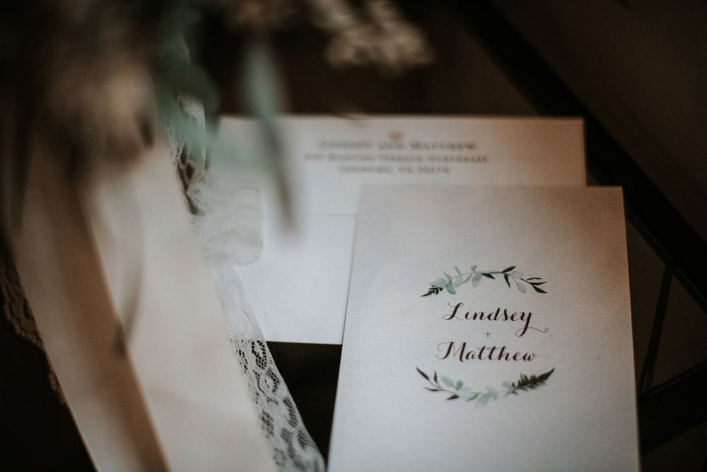 Detail Shot of Bride & Groom's stationery at 48 Fields Farm