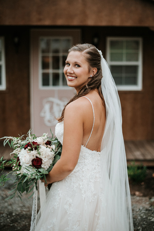 portrait of bride at 48 Fields Farm