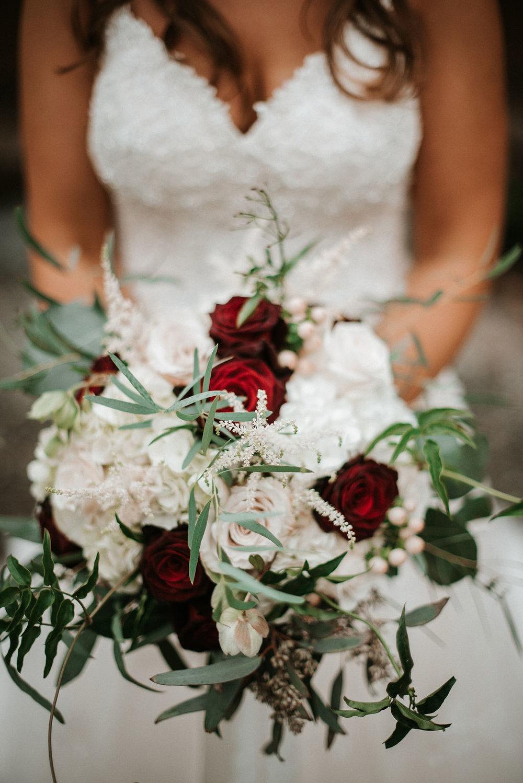 detail shot of bride's bouquet at 48 Fields Farm