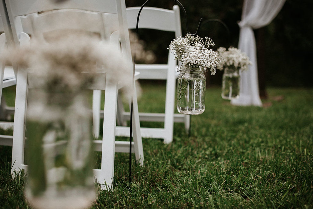 Detail Shot of Ceremony Flowers at 48 Fields Farm