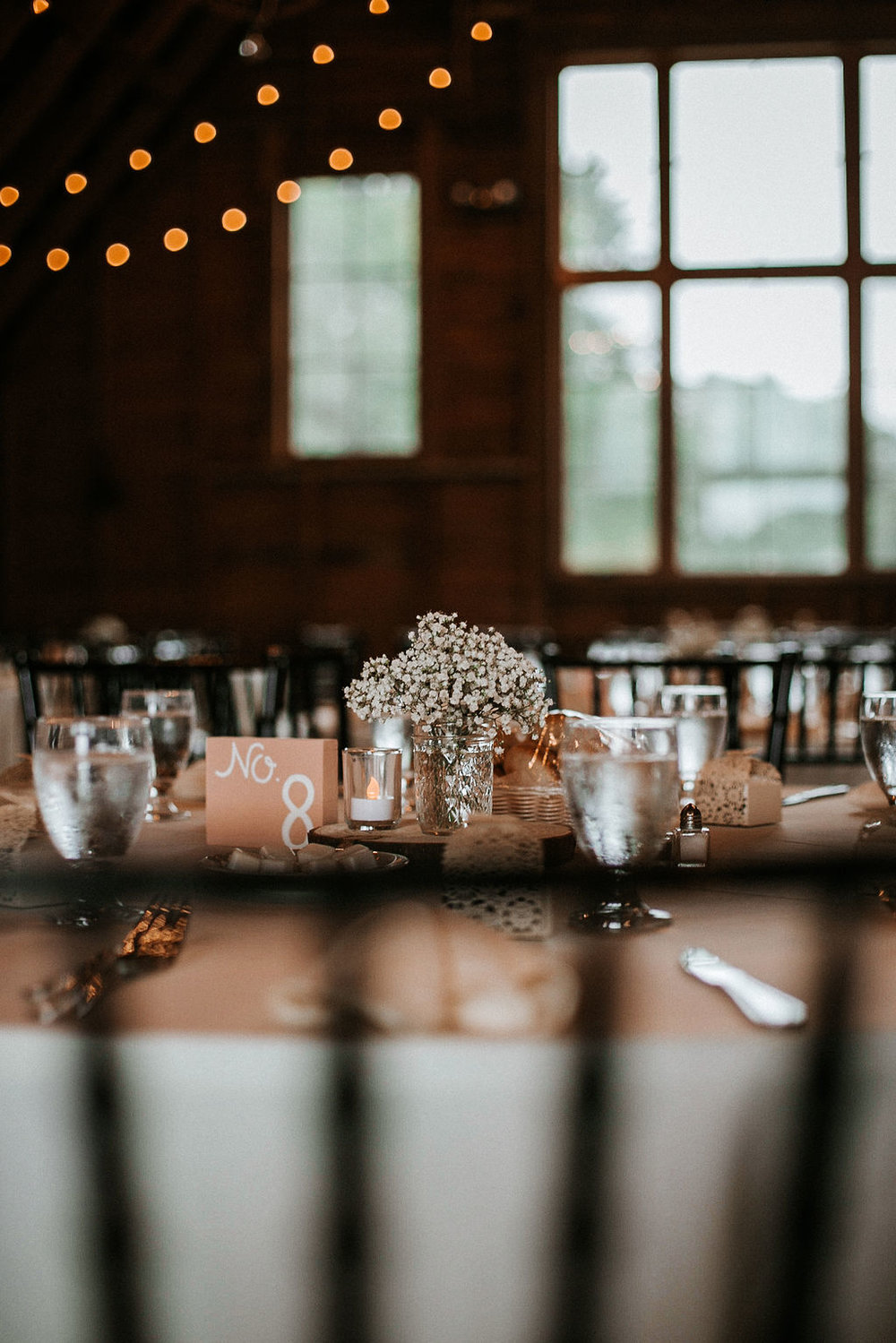 Detail shot of guest table at 48 Fields Farm