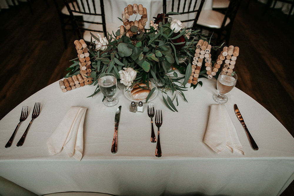 Sweet heart table detail shot at 48 Fields Farm