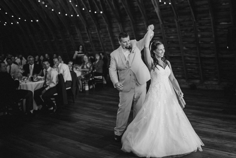 bride and groom having first dance at 48 Fields Farm