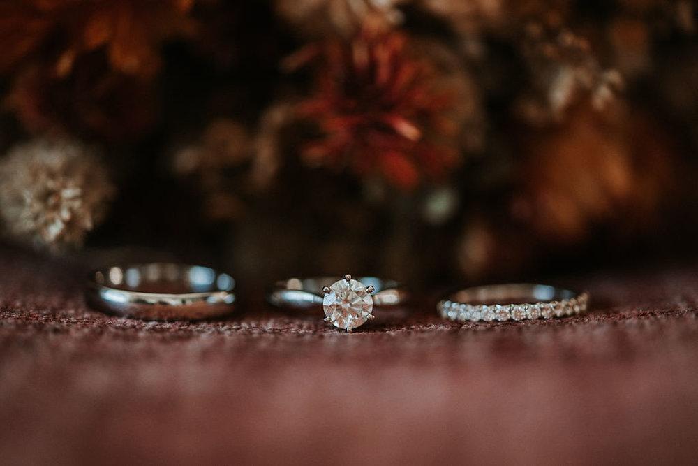 Detail Shots of Wedding Rings at Khimaira Farm