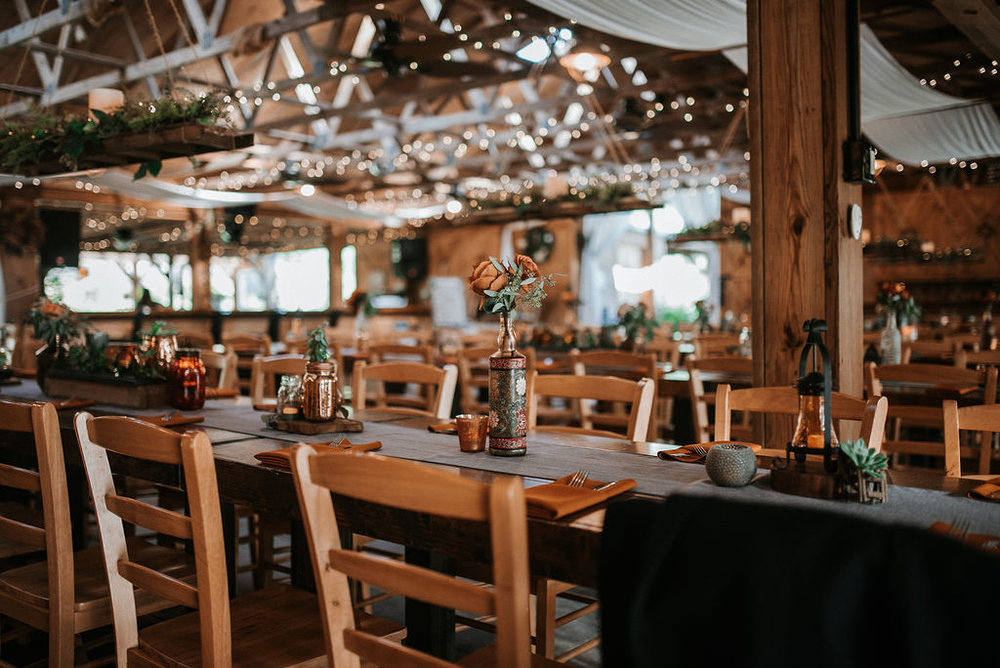 detail shot of reception table at Khimaira Farm