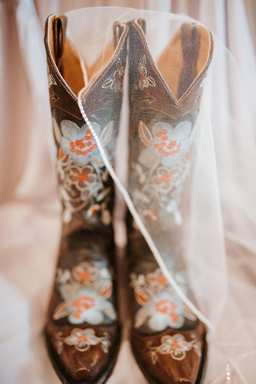 detail shot of bride's wedding shoes under veil at kimble farm