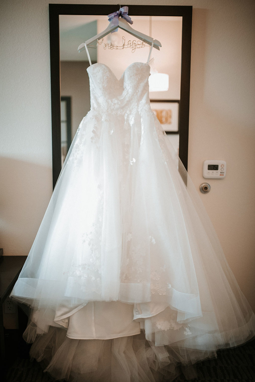 detail shot of wedding dress at kimble farm