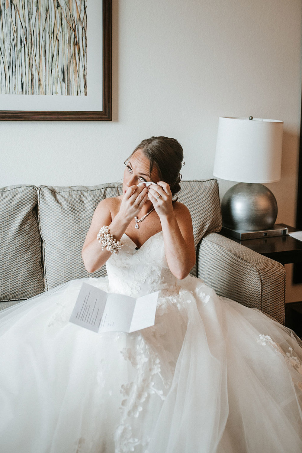 bride reading letter from groom at kimble farm