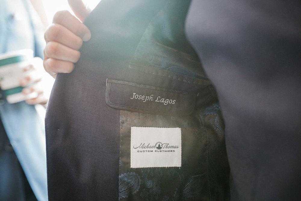 inside of groom's jacket detail shot at kimble farm