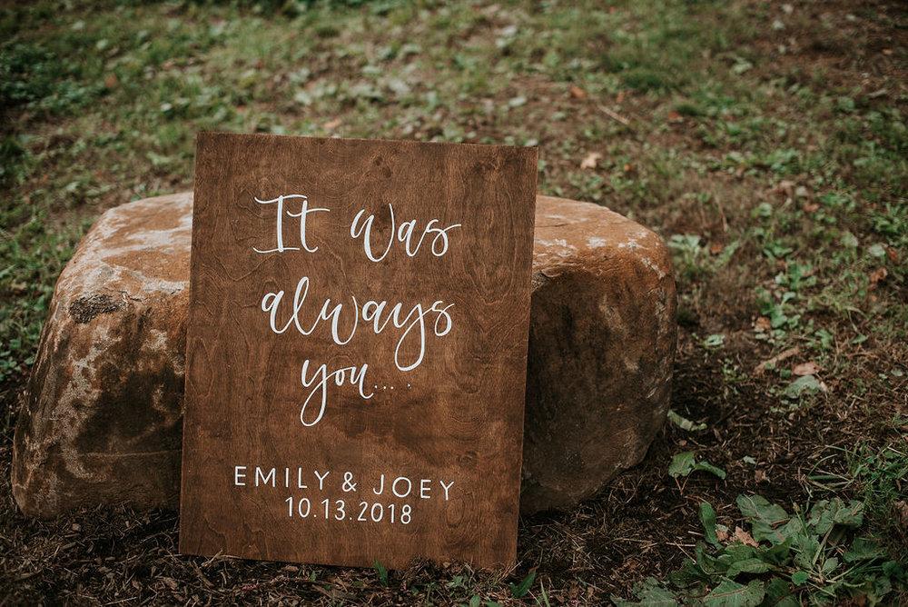 detail shot of wedding sign at kimble farm
