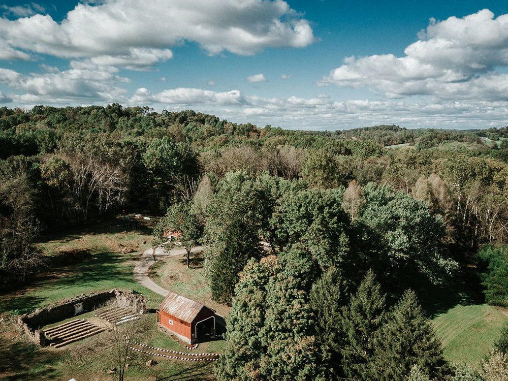aerial shot of ceremony site at kimble farm