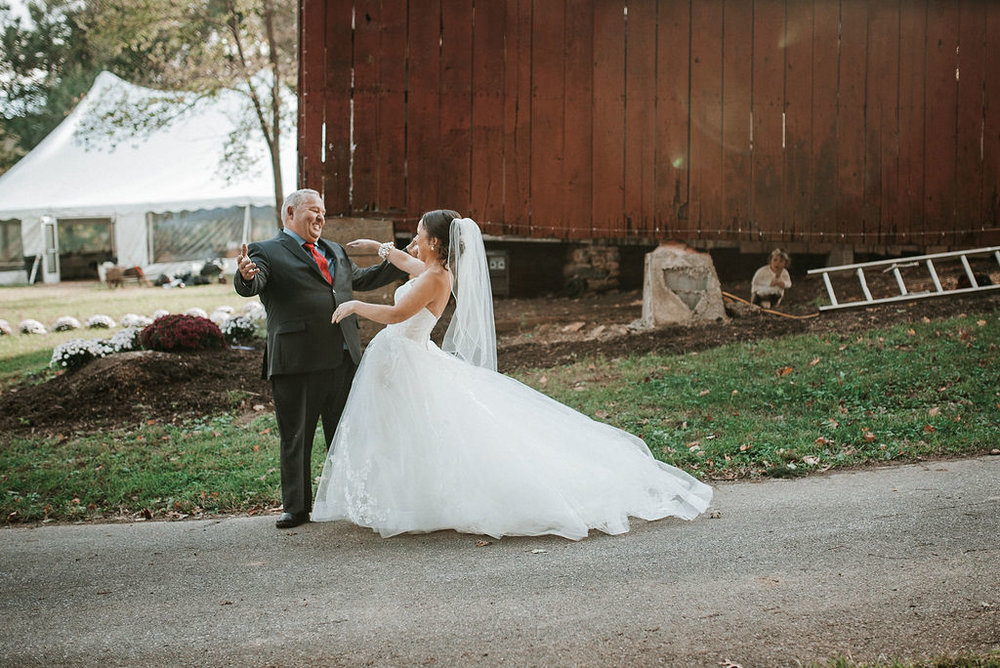 first look with father of the bride and bride at kimble farm