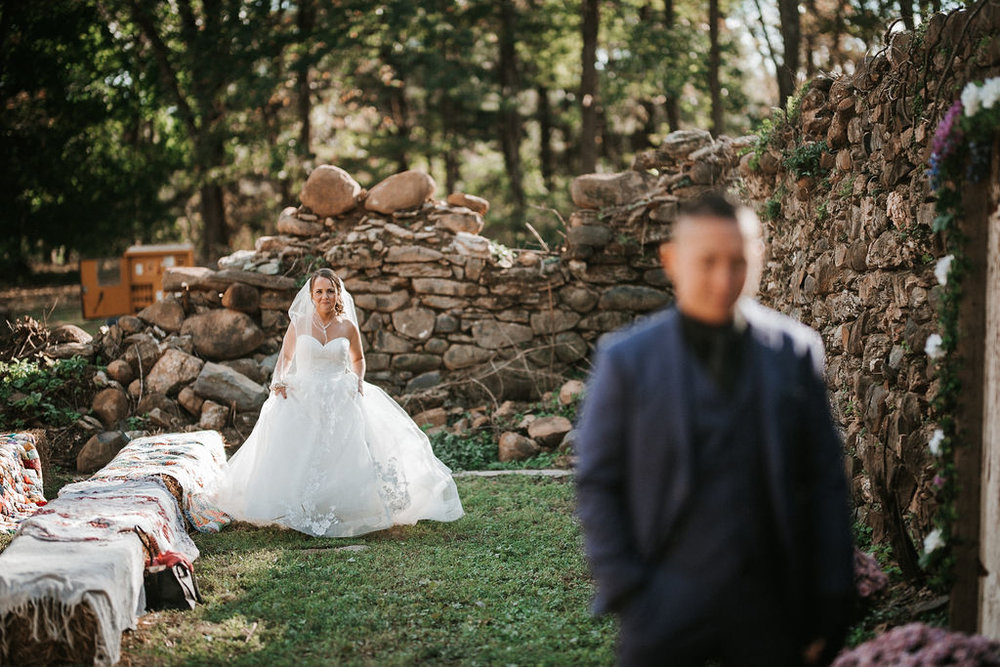 first look with groom and bride at kimble farm