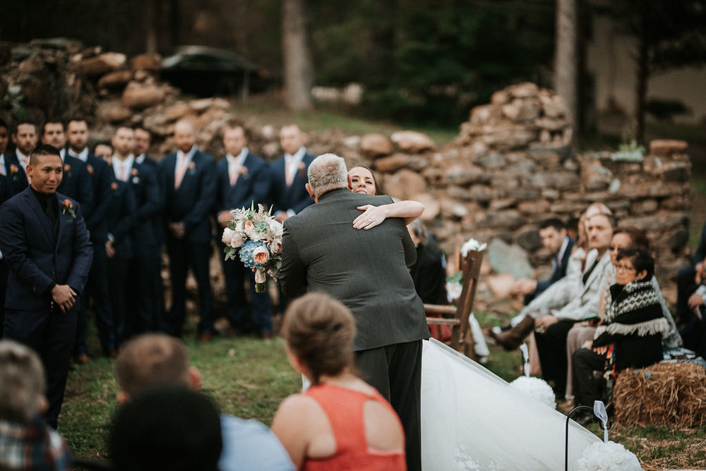 father of the bride giving away the bride at kimble farm