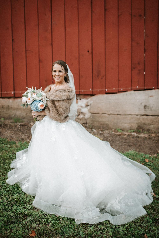 portrait of bride at kimble farm