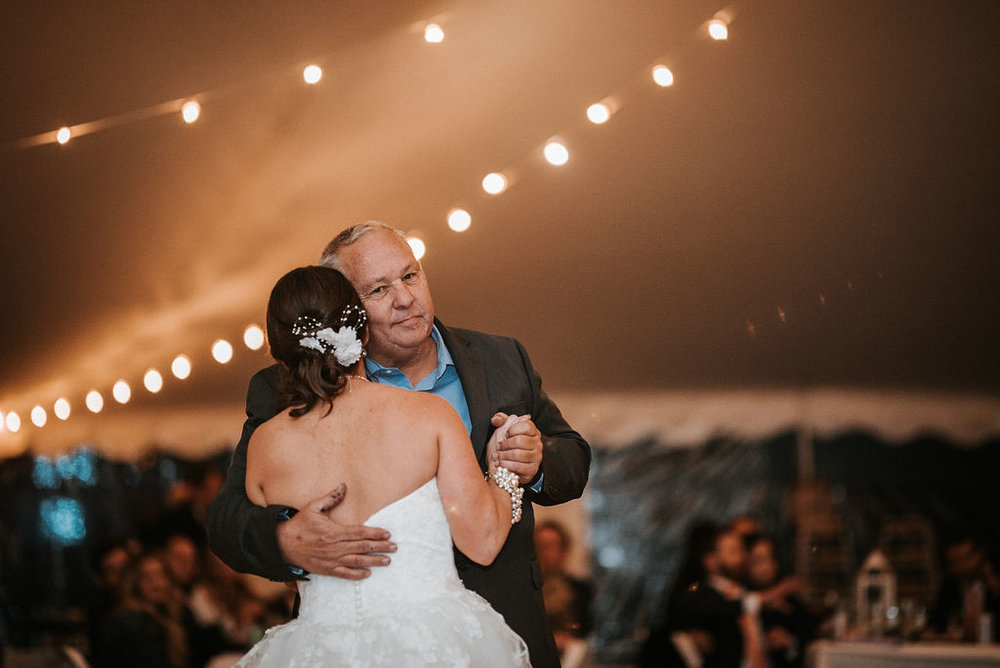 father of the bride and bride dancing at kimble farm