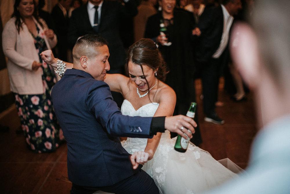 bride and groom dancing at kimble farm