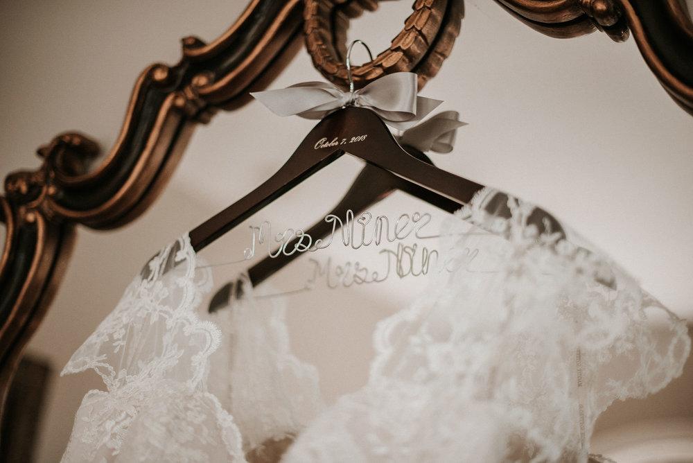 Detail Shot of Wedding Dress at Khimaira Farm
